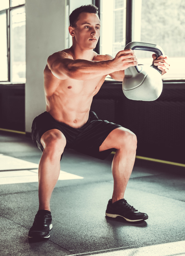 Squats with a kettlebell